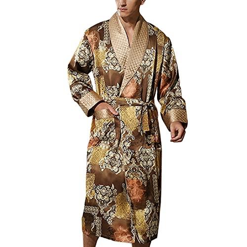 Hombre Bata Seda 100% Albornoz Largo Bata de Baño Ropa de Dormir Casual Kimono,para Piscina Sauna SPA Hotel Party,Oro,XXL