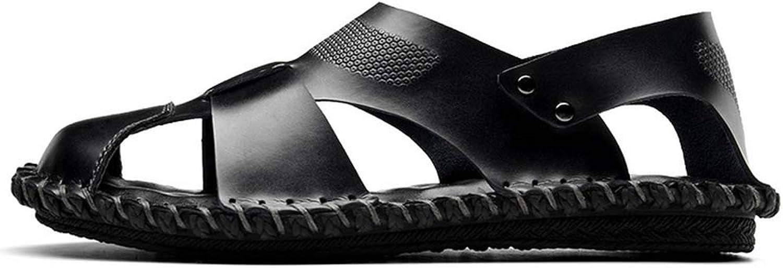 GHFJDO Men Closed-Toe sandals,Outdoor Leather Lightweight Flat Slides shoes,Summer Hiking Trekking Sandals