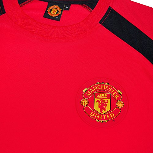 Manchester United FC Official Boys Poly Training Kit T-Shirt Red 8-9 Yrs MB