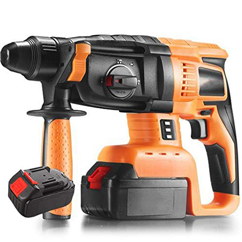 Cordless Rechargeable Drill, 3 in 1 Rotary Hammer Drill 4260BPM with 360° Auxiliary Handle Safety Clutch Carrying Case SDS Chuck Impact Drill, for Concrete and Stone,2 Battery