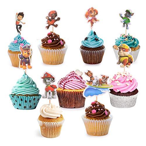 Colmanda Cupcake Toppers, 36 Stück Paw Dog Patrol Masken Cupcake Deko Mario Kuchen Toppers für Kinder Party Geburtstag Party Kuchen Dekoration Supplies