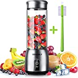 YEHANLY Portable Blender, Stainless Steel Mini Blender for Smoothie, Electric Juicer Cup Personal Size with USB Rechargeable, Six 3D Blades for Shakes Smoothies and Baby Food (BPA Free)