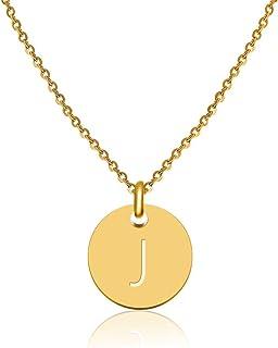 GD GOOD.designsレディースゴールドレターネックレス、ラウンドペンダント(40 + 5cm)女性用イニシャルジュエリー