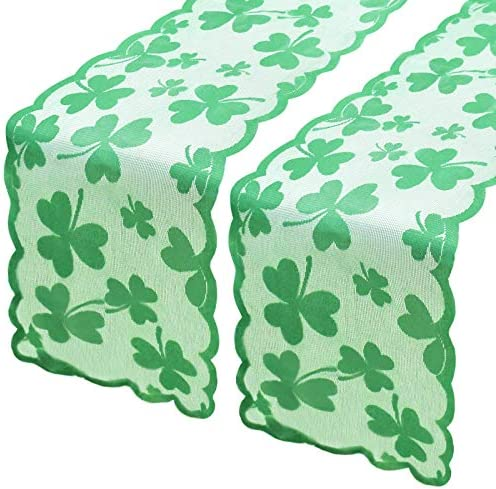 Yoochee 2 Pack St Patrick s Day Table Runner 13 72 inch Irish Clover Lace Embroidered Table product image
