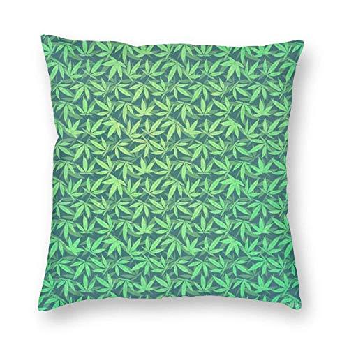 N\A Funda de Almohada Decorativa con diseño de Marihuana y Hierba Verde con Cremallera Oculta, Funda de Almohada Cuadrada súper Suave, Funda de cojín para sofá, Dormitorio, Coche, Sala de Esta