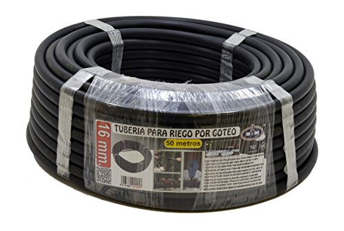 S&M 010057 - Tubería goteo, 16 mm x 50 m, color negro