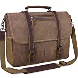 <span class='highlight'>Mens</span> Laptop <span class='highlight'>Messenger</span> Bag Waterproof Computer Leather Satchel Briefcases Vintage Canvas Shoulder Bag Large Work Bag Brown 15.6 inch