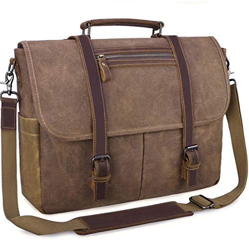 Mens Laptop Messenger Bag Waterproof Computer Leather Satchel Briefcases Vintage Canvas Shoulder Bag Large Work Bag Brown 15.6 inch