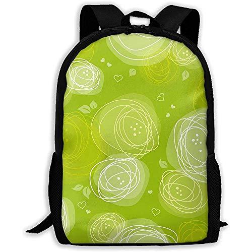 Green Stripes AMD Heart Unisex Adult Custom Mochila, Bolsas de Libros Deportivos de Ocio Escolar, Bolsas duraderas para portátiles de Oxford Outdoor College