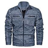 ZODOF Jacket Chaqueta de Cuero de Cuello Alto sin Sombrero Vintage para Hombre Chaqueta Suelta Chaquetas Hombre de Invierno Abrigo De Invierno,Azul