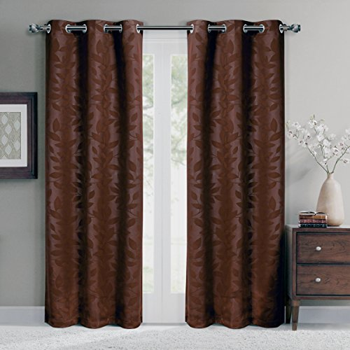 Royal Hotel Virginia Chocolate Grommet Blackout Weave Embossed Window Curtain Panels, Pair/Set of 2 Panels, 37x84 inches Each