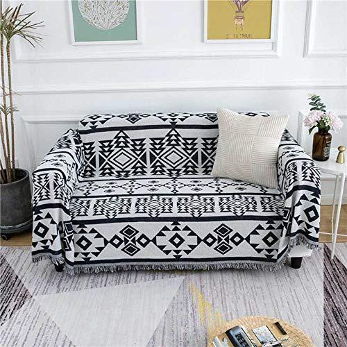 YSODFQL Sofá toalla línea manta negro geométrico simple sofá manta piano manta sofá cojín elastica / 230 * 330cm