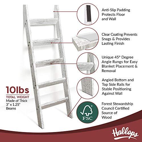 Hallops Blanket Ladder 5 ft. Premium Wood Rustic Decorative Quilt Ladder. White Vintage Wooden Decor. Throw Blankets Holder Rack (White on Brown)