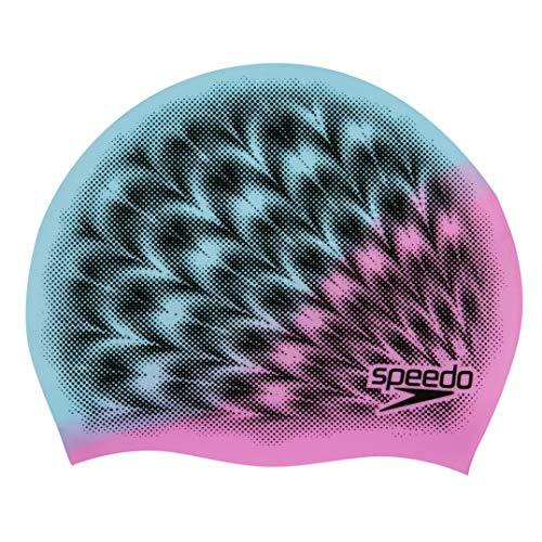 Speedo Junior Slogan Gorro de natación, Unisex-Youth, Ultra Pink/Light Adriatic/Negro, Einheitsgröße