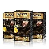 Syoss Oleo Intense - Tinte 3-10 Castaño – Coloración permanente Sin Amoníaco – Cobertura profesional de canas – Resultados de peluquería (Pack De 3)