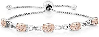 Gem Stone King 925 Sterling Silver Adjustable Diamond Tennis Bracelet 3.25 ct Oval Morganite
