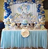 NSSONBEN Falda de mesa de tul azul para fiestas de bebés, bodas, cumpleaños, cumpleaños...