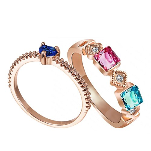 Fasherati Cuore Placcato Oro Rosa Multi Colored Speciale per San Valentino Lovers Rings Set