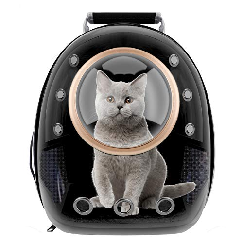RCRunning-EU Haustier Rucksack Transport Hunderucksack für Hunde und Katzen Raumkapsel transporttasche-schwarz