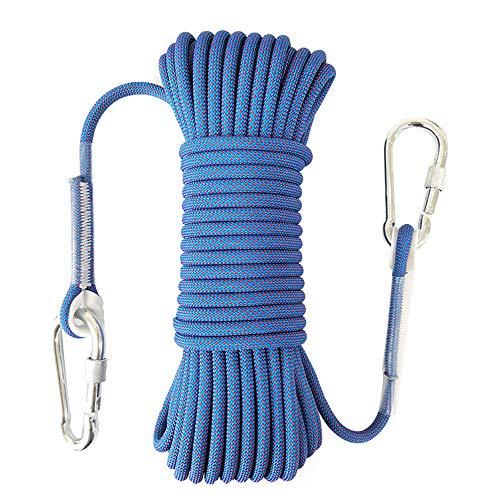 KimCC Outdoor-Klettern Seil mit Haken, Durchmesser 8mm, Wandern Camping Abenteuer Nylonseil Notausstiegsprogramm Rettungshundeleine