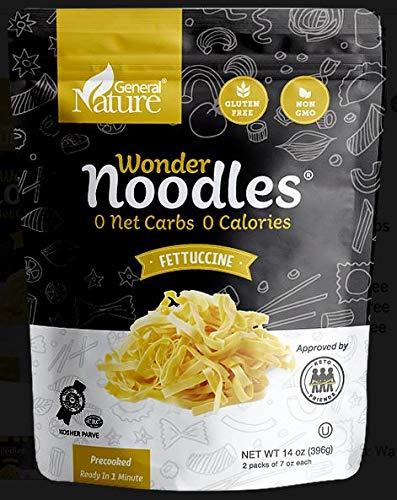 Wonder Noodles, Kosher, Vegan Friendly, Zero- Carb, Zero Calorie Noodles, Ready To Eat Pasta, Fettuccine, 14 Oz Bag [5 Pack]