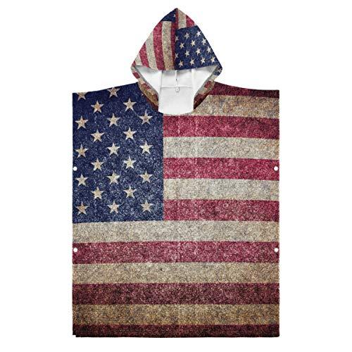 LENNEL para Piscina Parque de Aguas Termales 27.55x27.55 Pulgadas Toalla de Playa con Capucha Suave Bandera de Estados Unidos Algodón Bata de baño Capa Niños Durable