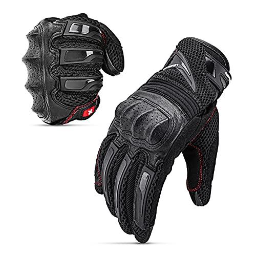 LEXIN Motorradhandschuhe Touchscreen Wasserdicht Handschuhe Schwarz mit Hardknuckle, Lederhandschuhe für Motorräder und Herren L