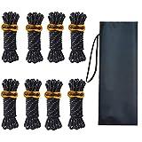 ガイロープ パラコード ロープ テントロープ ガイライン タープロープ 反射 8本 セット 4mm * 4m キャンプ アウトドア アルミニウム 自在金具付き 収納袋付き 耐荷重260kg (黒)