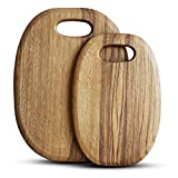 2 Pcs Best Teak Cutting Boards Round Wood Meat Cutting Board Handmade Wooden Chopping Boards for Pizza Bread Vegetable Cutting Board with Handle