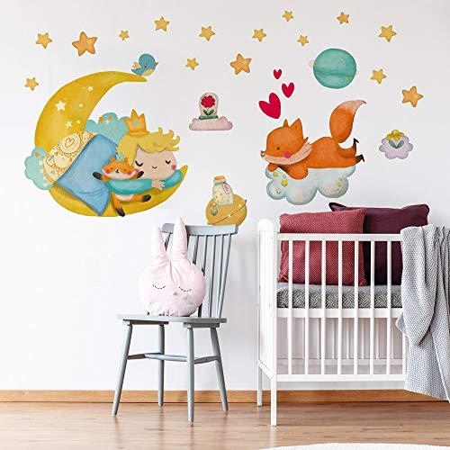 R00571 - Adhesivos murales de estrellas nubes para decoración de pared, habitación infantil, guardería, dormitorio - Papel Pintado Adhesivo Efecto Tela