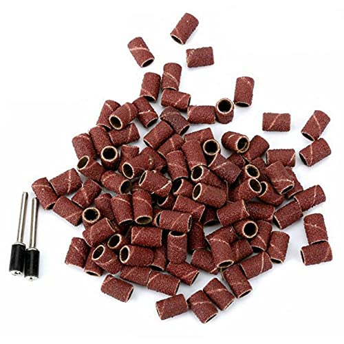 100pcs Sanding Band Grinding Drum Sanding Kit with 1/8' Shank Mandrel Abrasive Tools for Dremel Electric Drill Power Rotary Tool,600