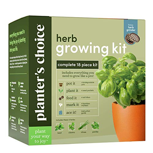 Planters' Choice Organic Herb Growing Kit + Herb Grinder -...