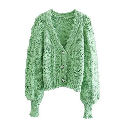 Streetwear Suéter con Cuello En V para Mujer, Cárdigans con Botones De Diamante A La Moda para Mujer, Suéteres De Punto Informal para Mujer-Verde_L
