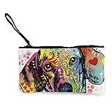 Yuanmeiju Portafoglio per portamonete in tela con cerniera unisex bassotto cucciolo di cane, borsa per il trucco