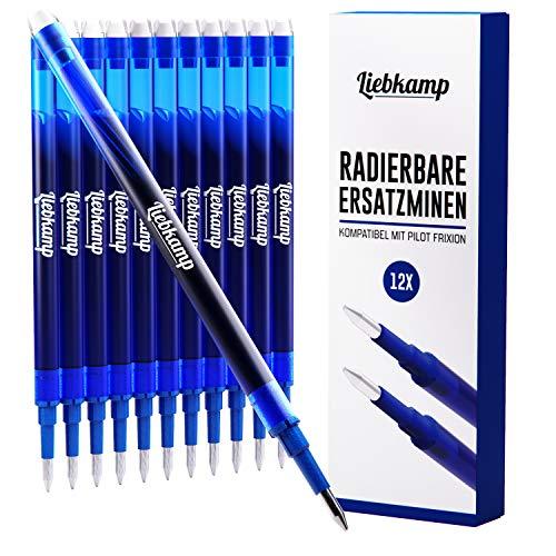 LIEBKAMP Ersatzmine blau 0,7mm kompatibel mit Pilot Frixion [12 Stk] Gute Preis/Leistung| Tintenroller radierbar | Pilot Frixion Ersatzmine blau 0,7