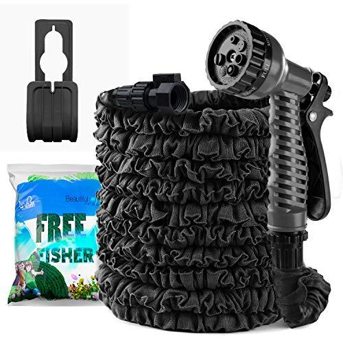 LPATTERN Flexibler Wasserschlauch Ausdehnbarer Gartenschlauch mit Universal Adapter, Multifunktion-Spritzpistole, Schwarz, 25FT(Schwarz Kupplung)