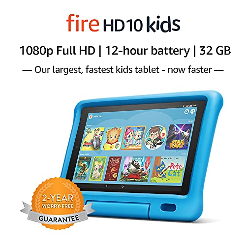 "Fire HD 10 Kids Tablet – 10.1"" 1080p full HD display, 32 GB, Blue Kid-Proof Case (2019 Release)"