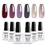 Elite99 Smalto Semipermanente per unghie,Set da 6 Colores Gel Splendente Colore Soak Off Gel Smalto per unghie,10ML C013
