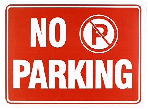 IIT No Parking Sign 9 x 12 Inch - 4 Pack, White and Red