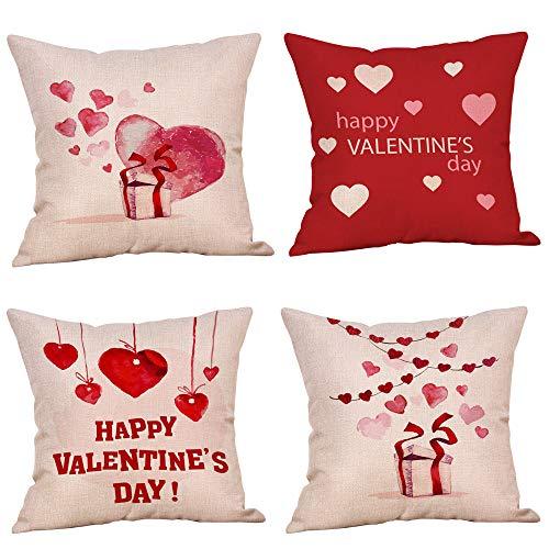 Liqiqi 4 Piezas Throw Pillow Cushion Cover, día de San Valentín Lino Amor corazón Modelo Almohada sofá Throw Cushion Cojines decoración Cuadrado Funda de cojín, 45 cm x 45 cm