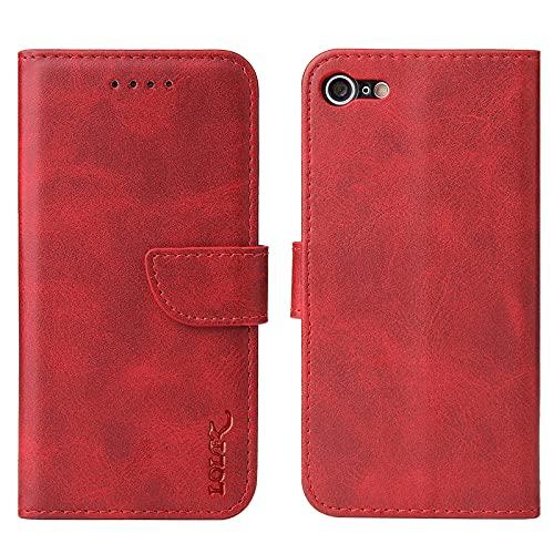 LOLFZ Hülle für iPhone 6 iPhone 6S, Premium Leder Handyhülle mit Kartenfach Ständer Magnetische Schutzhülle für iPhone 6 iPhone 6S - Rot