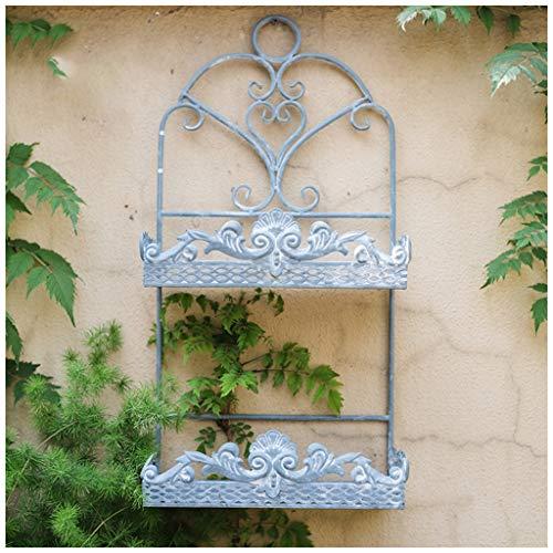Xiuxiu Vintage Schmiedeeisernes Regal mit doppelter Wandbefestigung, dekorative Innenwand für Blumen, Regal für Garten und Balkon