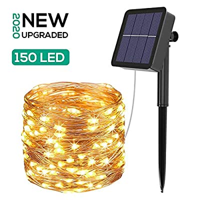 Solar String Lights Outdoor, 8 Modes 150 LED 49.2ft Waterproof Fairy Lights, Decoration Lights for Party, Garden, Yard, Patio,Christmas(Warm White)