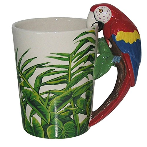 Puckator SMUG29 Mug with Parrot Handle, 13 x 8.5 x 13 cm, Ceramic, Multi, Height 12.5cm Width 13cm Depth 8.5cm