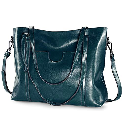 S-ZONE Women's Vintage 3-Way Genuine Leather Tote Shoulder Bag Handbag Fashion Handbag Messenger Bag (Lake Blue)