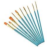 Pinceles para pintura acrílica, de nailon, para el pelo, para pintar al óleo, acuarela, cara, uñas, cuerpo, manualidades, color azul