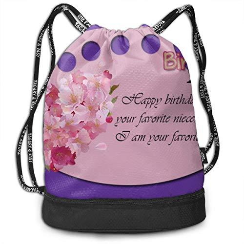 FedoraSale Happy Birthday Print Unisex Drawstring Bag Stylish Lightweight Sackpack Sport Gym Bundle Backpack One Size