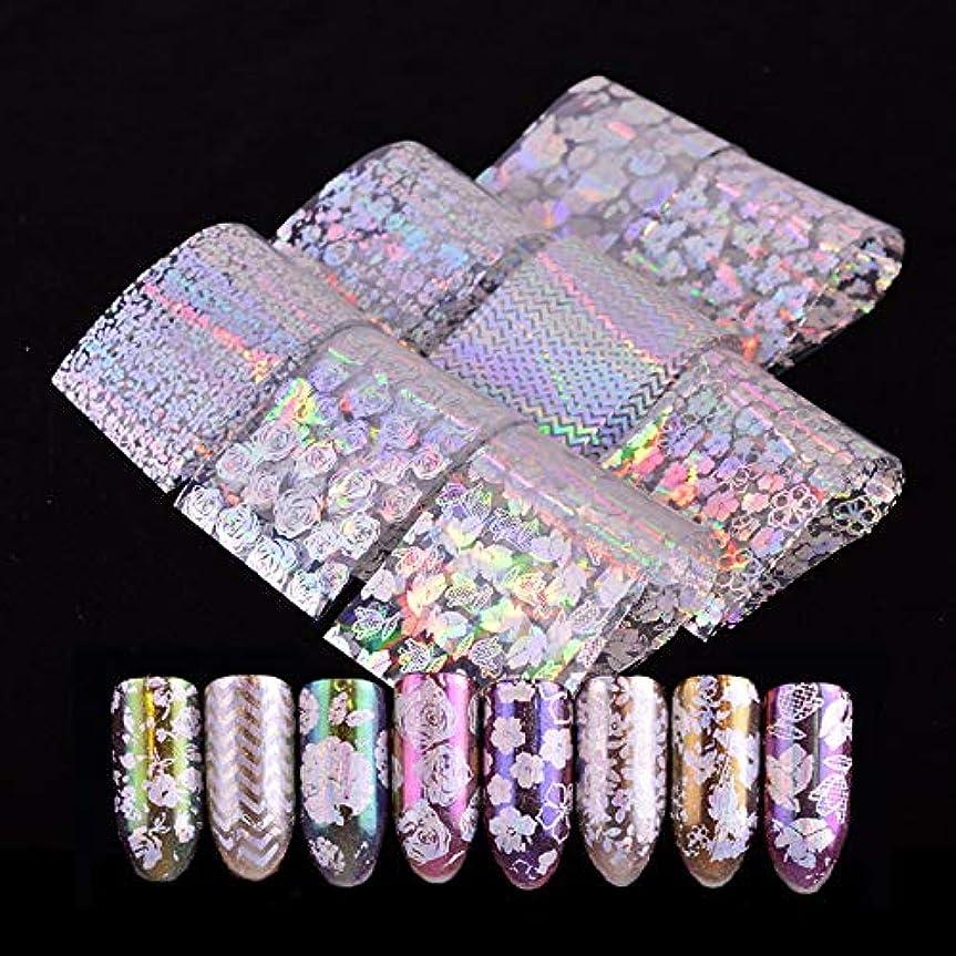 仕方仕事行う8ピースレーザーネイルホイルホログラフィック転写アートステッカーカラーグラデーションフラワーローズデザイン透明なヒントの装飾マニキュアソルト