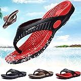 NFJ Reflexology Flip Flops Slippers Non-slip Flip Flops Beach Shoes Sandals Acupressure Massage Health Slippers For Men,Red-45
