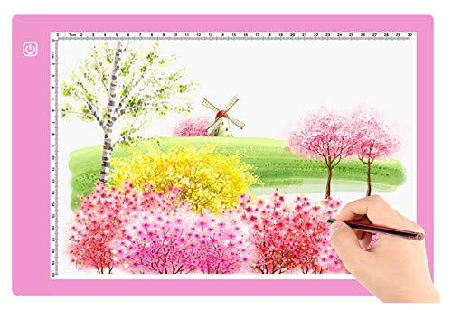 A4 Ultra-Thin Portable LED tracing Light Box Dimmable Brightness LED Art Tracing Pad for Artist Drawing Sketching Animation Stencilling and 5d Diamond Painting (Light Pink  A4)